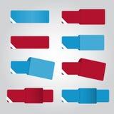 Set osiem kolorów sztandarów dla sieci ilustracji