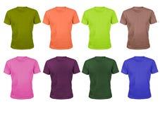 Set osiem kolor bawełny sportów koszulek odizolowywających na bielu Zdjęcia Royalty Free