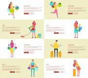 Set Osiem obrazków Robi zakupy Wektorową ilustrację Zdjęcie Stock