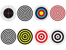 Set osiem wektorowych celów Obrazy Stock