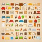 Set osiemdziesiąt sześć ilustracj meblarskich dla domu Zdjęcie Stock