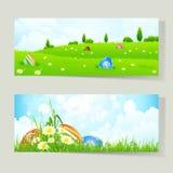 Set Ostern-Karten mit Eiern Stockfoto