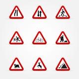 Set Ostrzegawczy ruch drogowy znaki royalty ilustracja