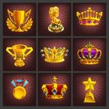Set otrzymywać kreskówki złotego trofeów, medali, nagrody i osiągnięcie gry ekran, Fotografia Royalty Free