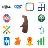 Set of otter, continuous improvement, pizza place, , ain, pole vault, fantasy baseball, boy scout, pharma company icons. Set Of 13 simple editable icons such as Stock Image