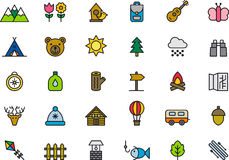 Set of outdoor activity icons Royalty Free Stock Photos