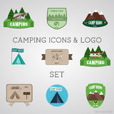 Set of outdoor adventure badges and campsite logo emblems. Summer 2015 stickers. Royalty Free Stock Photo