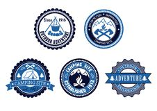 Set of Outdoor Adventure and Camping emblems Stock Photo