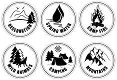 Set of outdoor adventure and expedition logo emblems. Stock Image
