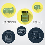 Set of outdoor adventure icons, badges and Royalty Free Stock Photo