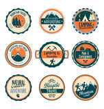 Set of outdoor adventure retro labels Stock Images