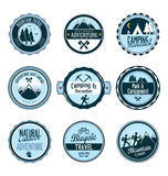 Set of outdoor adventure retro labels Stock Image