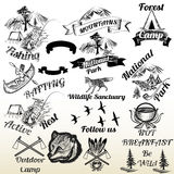 Set of outdoor camping and mountains typography labels design Royalty Free Stock Images