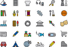 Set of outdoor leisure icons. Set of outdoor leisure, games and activities icons Stock Image