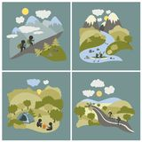 Set of outdoor leisure pictures. Set of vector lat style outdoor leisure pictures. Journey by kayak, cycling trip and mountain hiking Stock Image