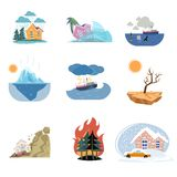 Set of catastrophe icons and outdoor natural disasters isolated on white background stock illustration