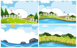 Set of outdoor scenes. Illustration stock illustration