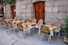 Set of outdoor tables Royalty Free Stock Photo