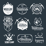 Set of outdoor wild life related labels badges emblems. Vector vintage illustration. Stock Photo