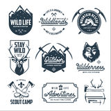 Set of outdoor wild life related labels badges emblems. Vector vintage illustration. Stock Photos