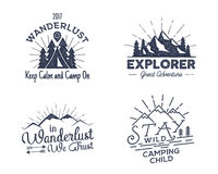 Set of outdoors activity badges. Retro illustration outdoor labels. Typography and roughen style. Vector logo with vector illustration