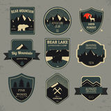 Set of outdoors adventure and expedition badges and labels. Vector Stock Photography