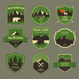 Set of outdoors adventure and expedition badges and labels. Vector Royalty Free Stock Image