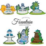 Set of outdoors fountain for gardening. Spring and summer plants around garden waterfall, autumn back yard decorative stone statue vector illustration stock illustration