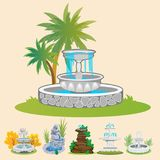 Set of outdoors fountain for gardening, spring and summer plants around garden waterfall, autumn back yard decorative Stock Photography