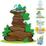 Set of outdoors fountain for gardening, spring and summer plants around garden waterfall, autumn back yard decorative Royalty Free Stock Photography