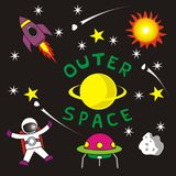 Set of Outer Space Planets Vector Background royalty free illustration