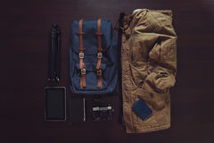Set of outfit for modern traveler royalty free stock images