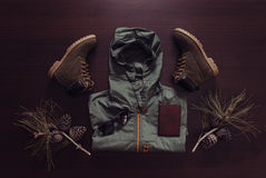 Set of outfit for traveler man stock image