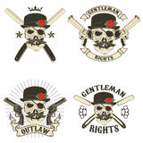 Set of outlaw t-shirt print design templates Stock Images