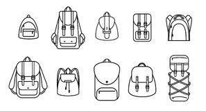 Set of outline backpacks stock illustration