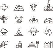 Set of Outline Canada Icons. Series of icons or symbols of Canada in line art Royalty Free Stock Photo