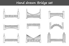 Set of outline cartoon bridges in hand drawn style Royalty Free Stock Photos