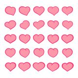 Set of outline cartoon hearts with comic style strokes. Group of isolated hand-drawn cute heart icons. Vector royalty free illustration