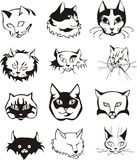 Set of outline cat heads Royalty Free Stock Photography