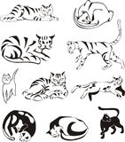 Set of outline cats Stock Image