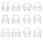 A set of outline chair. Vector illustration. Stock Images