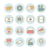 Set of 16 outline cinema icons. Modern flat cimena icons for web, print, mobile apps design Royalty Free Stock Images
