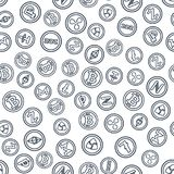 Set of outline coins with symbols and signs of popular crypto cu. Rrency. Seamless background. Mining of virtual money. Vector Icons. Bitcoin Stock Photography