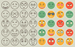 Set of outline and colorful emoticons, emoji isolated on white background. Emoticon for web site, chat, sms. Vector Stock Photo