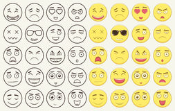 Set of outline and colorful emoticons, emoji isolated on white background. Emoticon for web site, chat, sms. Vector. Illustration Stock Photography