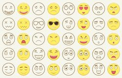 Set of outline and colorful emoticons, emoji isolated on white background. Emoticon for web site, chat, sms. Vector Stock Photos