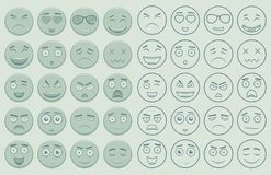 Set of outline and colorful emoticons, emoji isolated on white background. Emoticon for web site, chat, sms. Vector Stock Photography