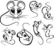 Set of outline cute mice Stock Photo