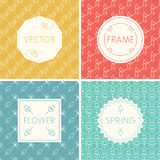 Set of outline design frames on seamless backgrounds with flowers. Stock Images