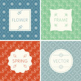 Set of outline design frames on seamless backgrounds with flowers. Vector set of labels, emblems, badges and frames in line style - graphic design elements on Royalty Free Stock Image